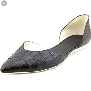 Vince d'orsay snake leather pointed toe flats 10